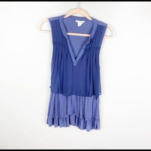 Clu + Willoughby Anthropologie Purple Tiered Tank